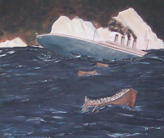 Sinking of the Titanic - Oil Painting, done in 1997.