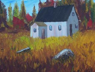 Old House at Stonehurst - an early painting by Nova Scotia Artist and oil painter, Laurie Lacey.